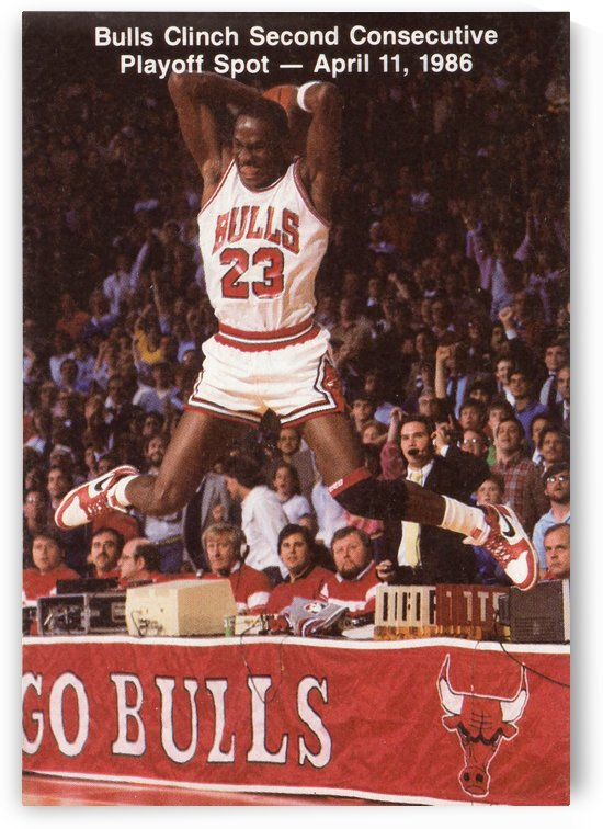 1986 michael jordan chicago bulls art poster canvas by Row One Brand