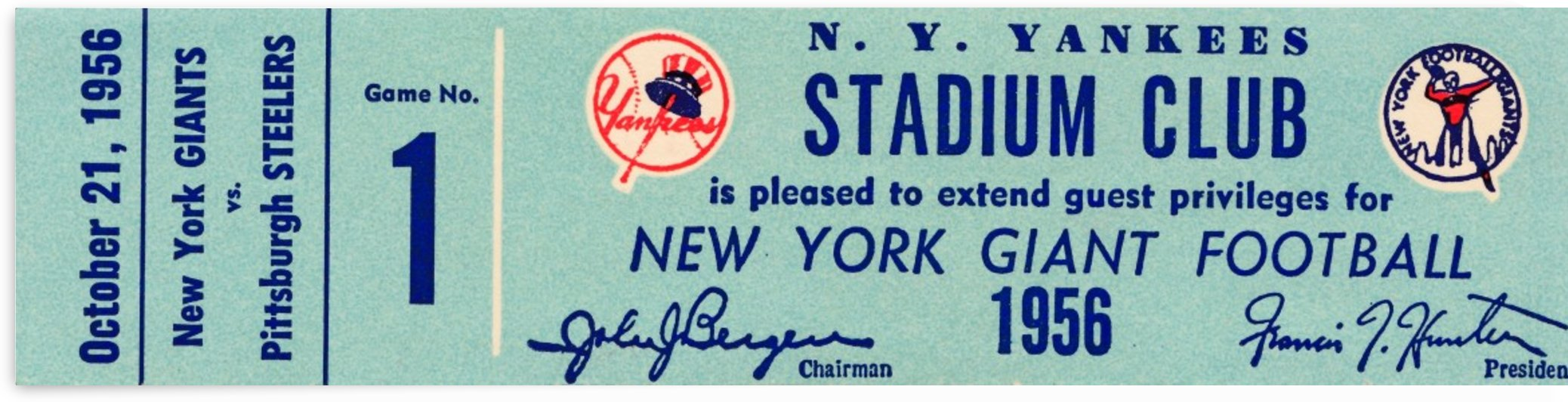 1956 new york giants football ticket stub reproduction print by Row One Brand