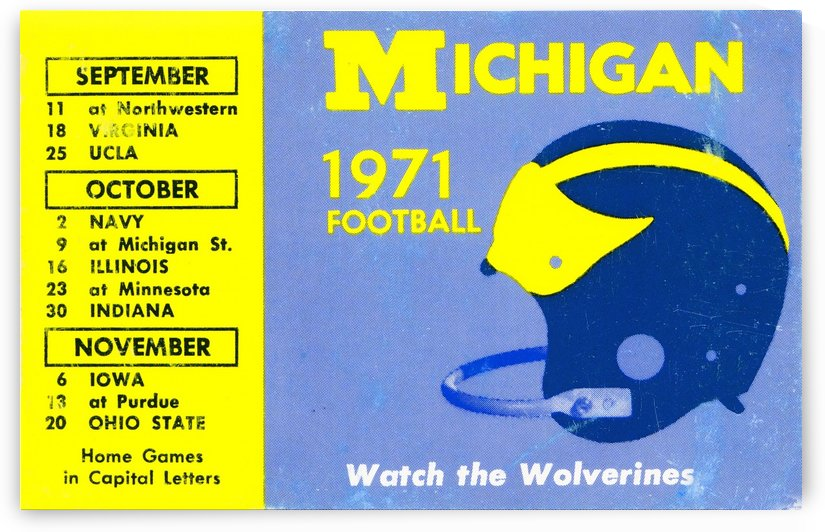1971 michigan wolverines football hd aluminum sign by Row One Brand