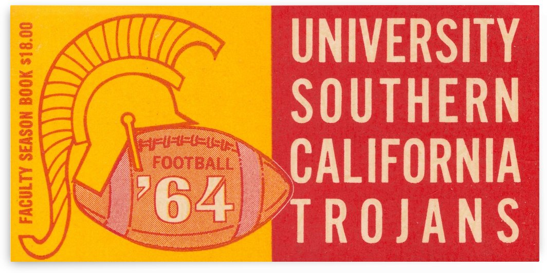 usc university of southern california trojans football art 1964 by Row One Brand
