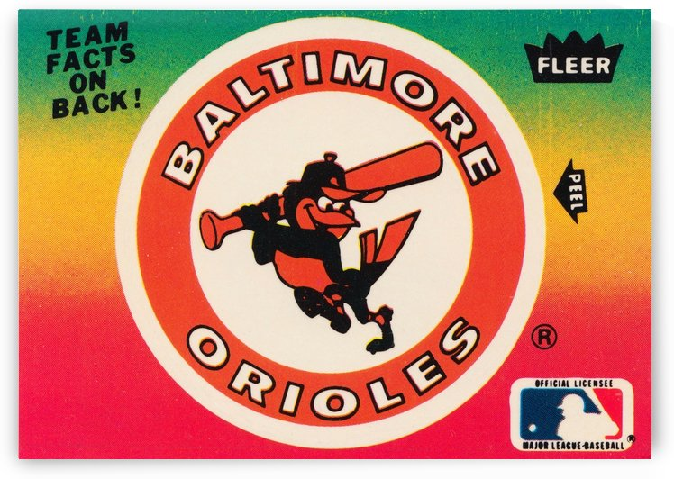 1983 fleer baseball stickers baltimore orioles wood print by Row One Brand