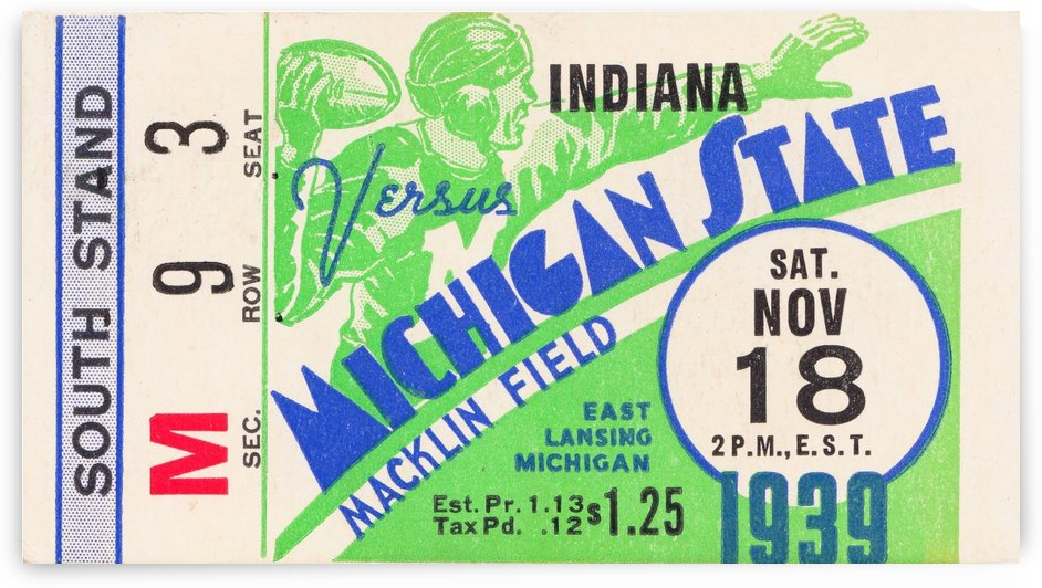 1939 michigan state spartans football ticket macklin field east lansing by Row One Brand