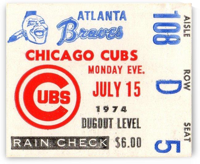 1974_Major League Baseball_Chicago Cubs vs. Atlanta Braves Ticket Stub Art by Row One Brand