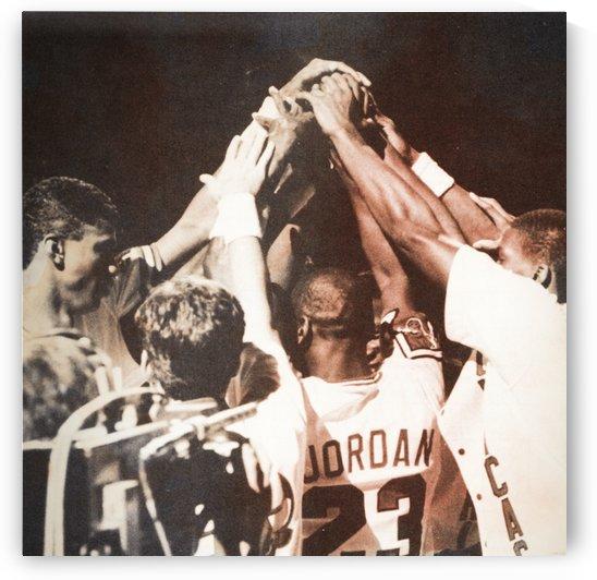 chicago bulls team photo michael jordan huddle by Row One Brand