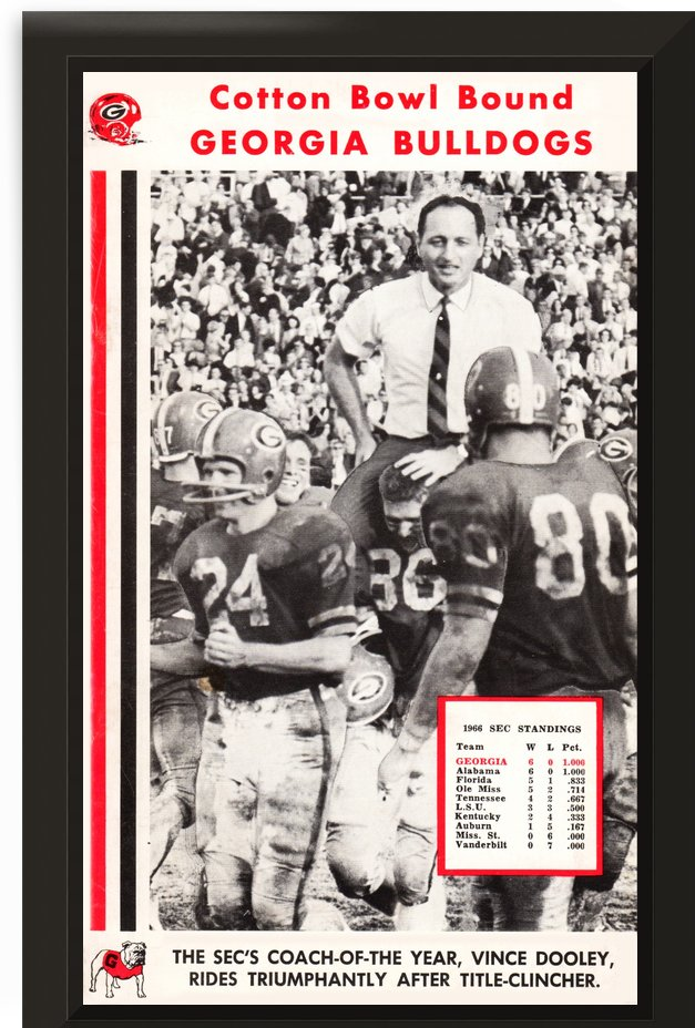 1966 georgia bulldogs sec coach of year vince dooley poster by Row One Brand