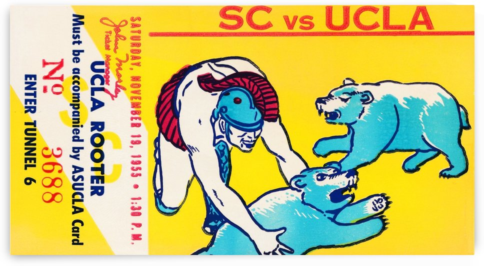 1955 usc ucla bruins rooter college football ticket stub by Row One Brand