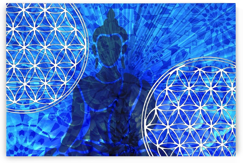 Buddha Mandala Collage blue by Move-Art-Designs