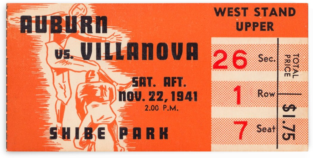 1941 auburn tigers villanova wildcats shibe park philadelphia west stand by Row One Brand