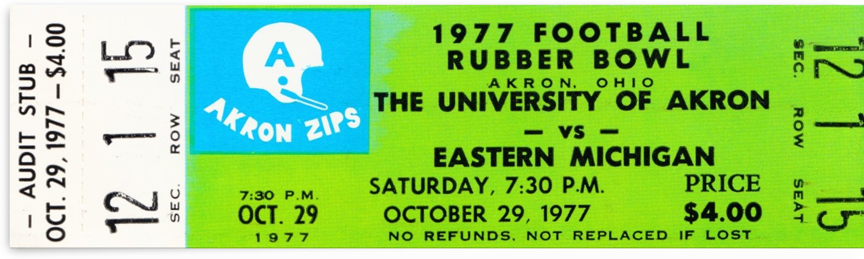 1977 rubber bowl akron zips eastern michigan ticket stub art reproduction by Row One Brand