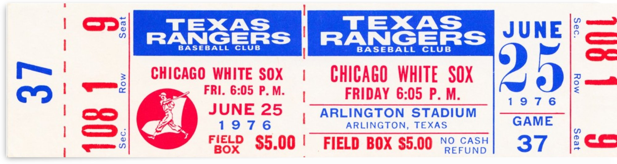 1976 texas rangers chicago white sox ticket stub wall art by Row One Brand