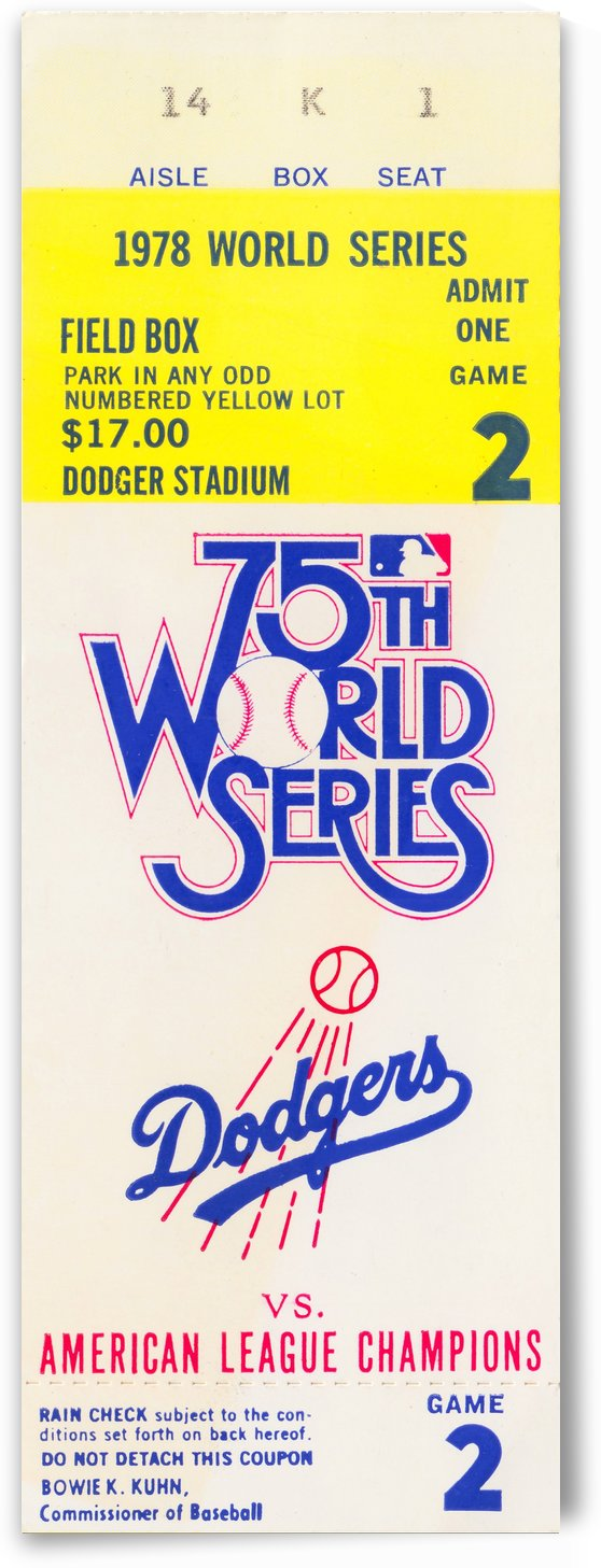 1978 world series la dodgers dodger stadium field box by Row One Brand