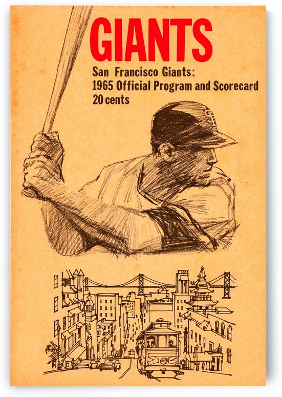 1965 san francisco giants baseball program scorecard art by Row One Brand