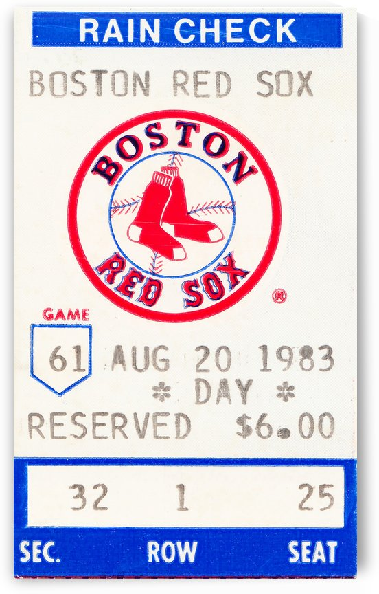 1983 boston red sox vintage ticket stub poster by Row One Brand