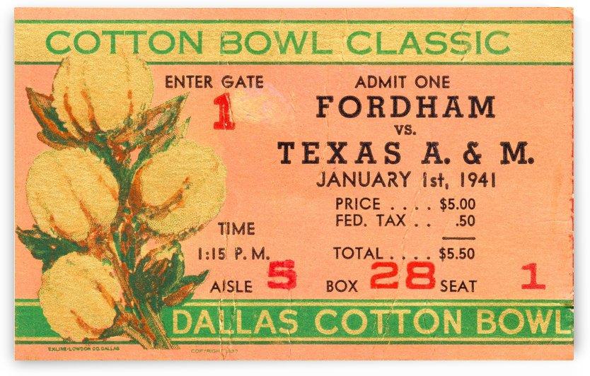 1941 Cotton Bowl Fordham vs. Texas AM by Row One Brand