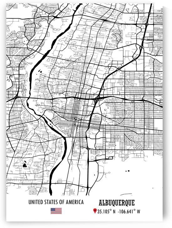 Albuquerque USA Map by Artistic Paradigms
