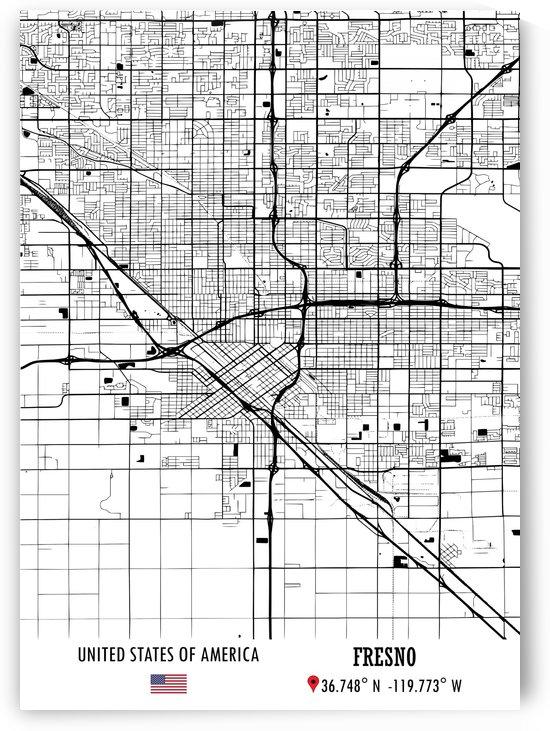 Fresno USA Map by Artistic Paradigms