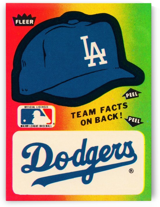 1983 fleer baseball stickers la dodgers ballcap art by Row One Brand