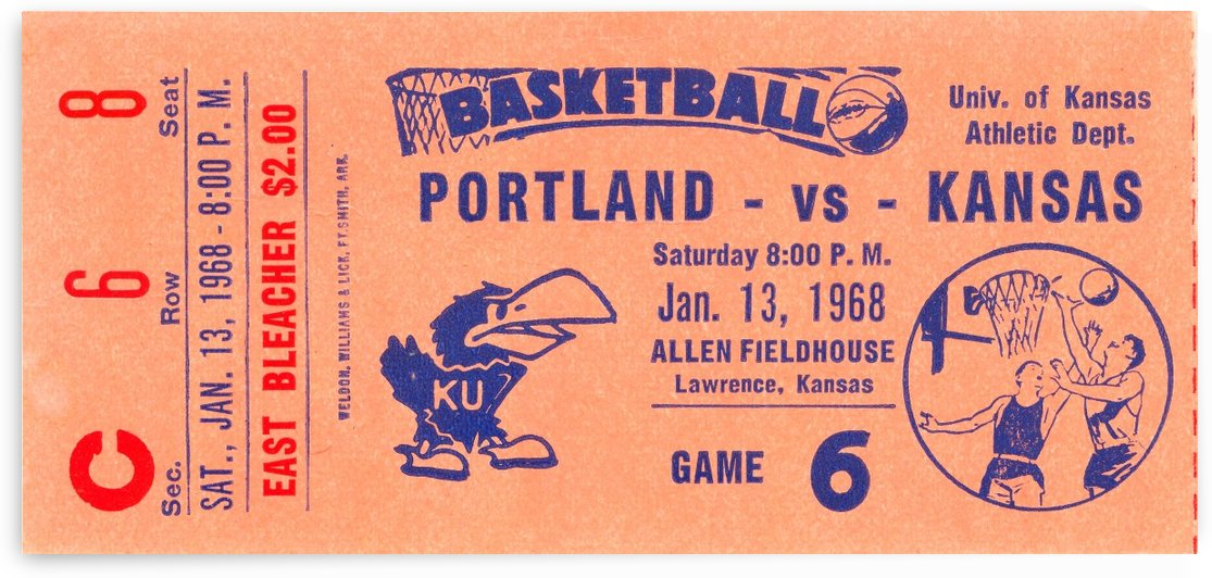 1968 portland vs. kansas jayhawks basketball by Row One Brand