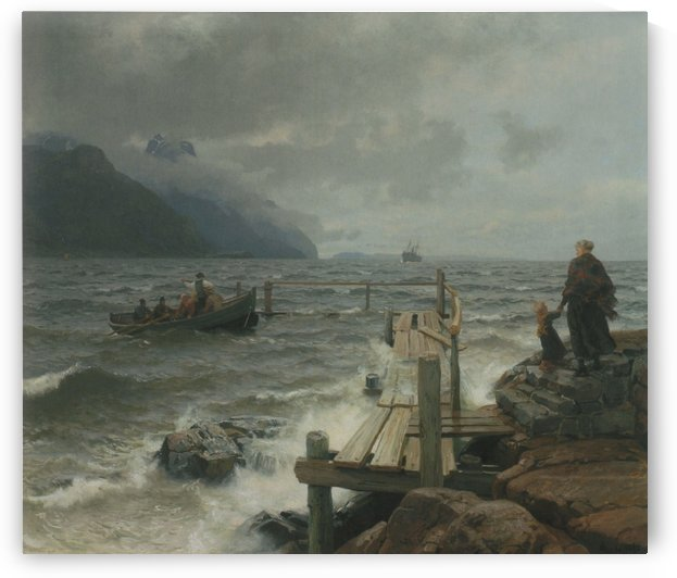 Fresh breeze off the Norwegian coast by Hans Fredrik Gude