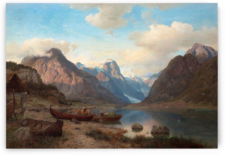 Indre Fjaerlandsfjord i Sogn by Hans Fredrik Gude