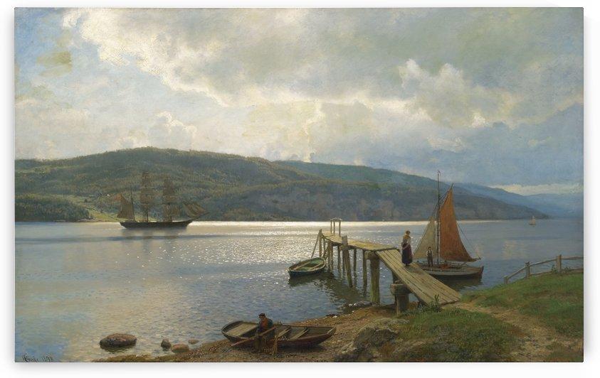 Kaien pa Feste i naer Moss by Hans Fredrik Gude
