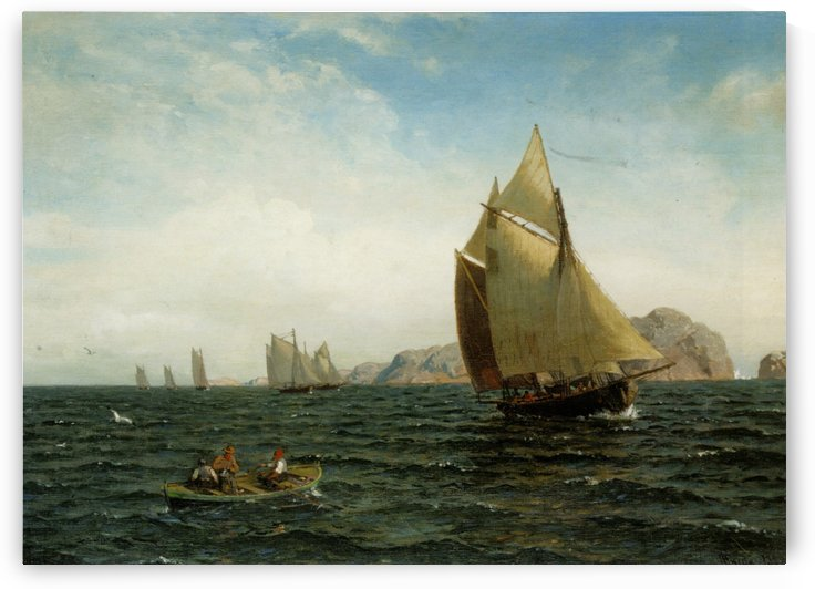The ships at fjords by Hans Fredrik Gude