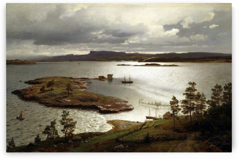 The Fjord at Sandviken by Hans Fredrik Gude