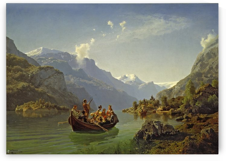 Bridal journey in Hardanger by Hans Fredrik Gude