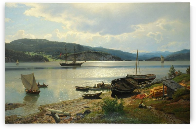 By the water by Hans Fredrik Gude
