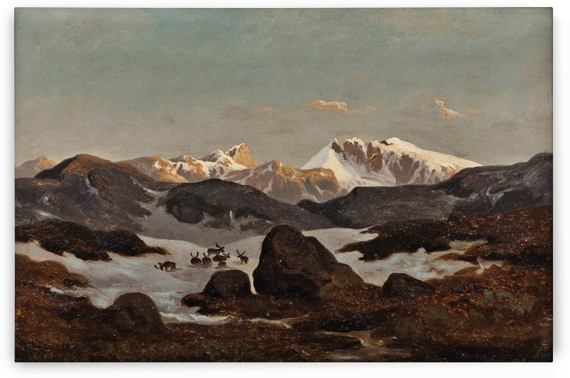 Snow in the Mountains by Hans Fredrik Gude