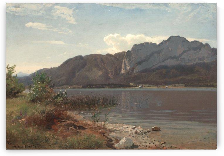 Landskap fra Drachenwand ved Mondsee by Hans Fredrik Gude