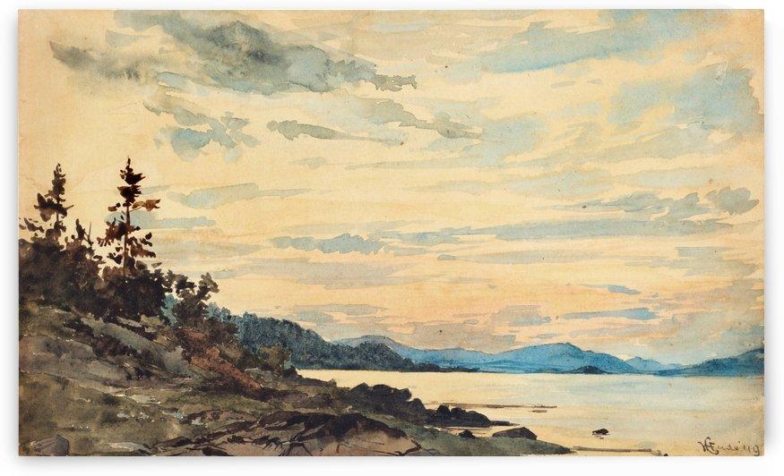 Fjordlandskap vid solnedgang by Hans Fredrik Gude