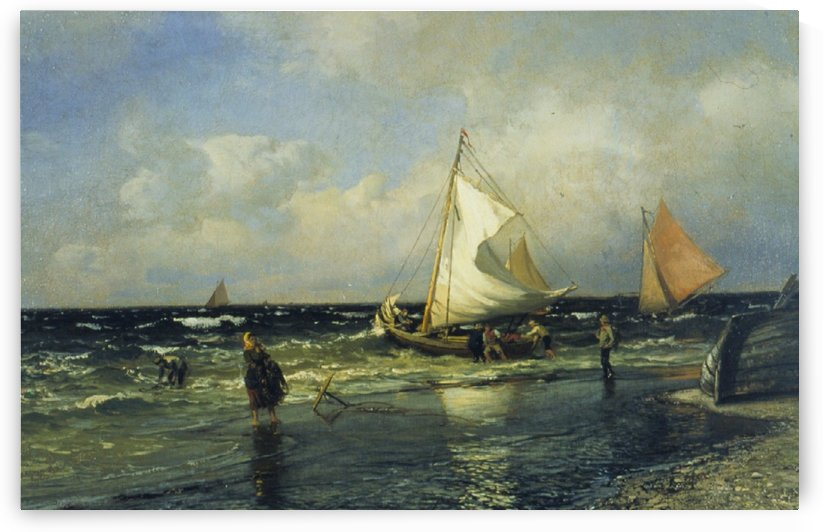 Fishing Boats Setting to Sea by Hans Fredrik Gude