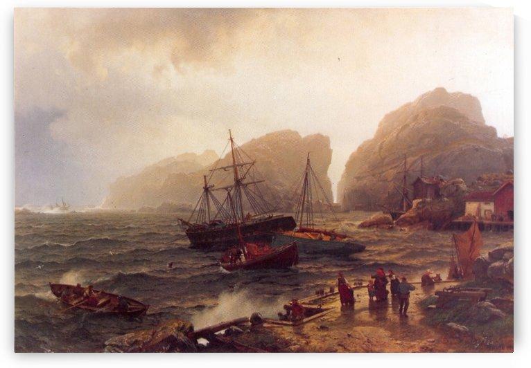 Nodhavn Ved Norskekysten by Hans Fredrik Gude