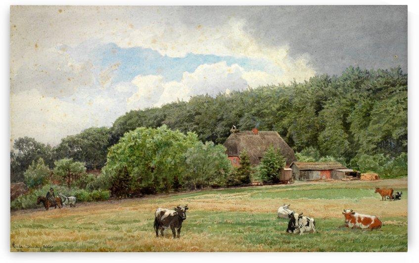Bondegard med beitende kuer by Hans Fredrik Gude