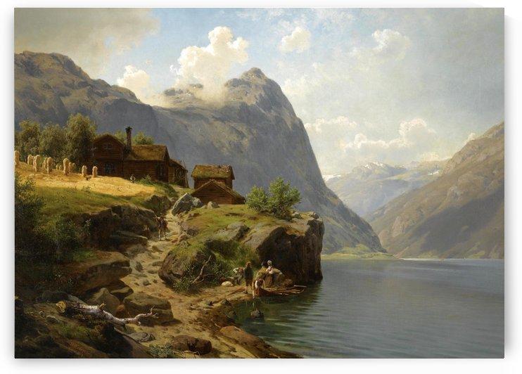 Figures in a Fjord Landscape by Hans Fredrik Gude