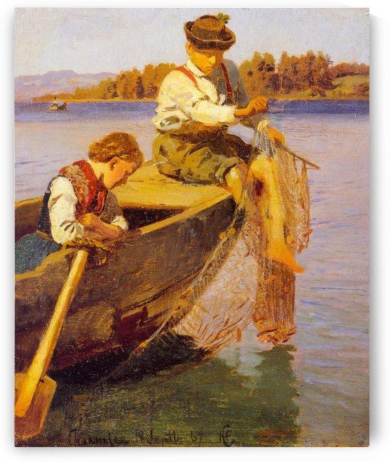 Fiskerbarn Chiemsee by Hans Fredrik Gude