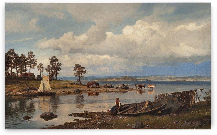 Norwegian fjord by Hans Fredrik Gude