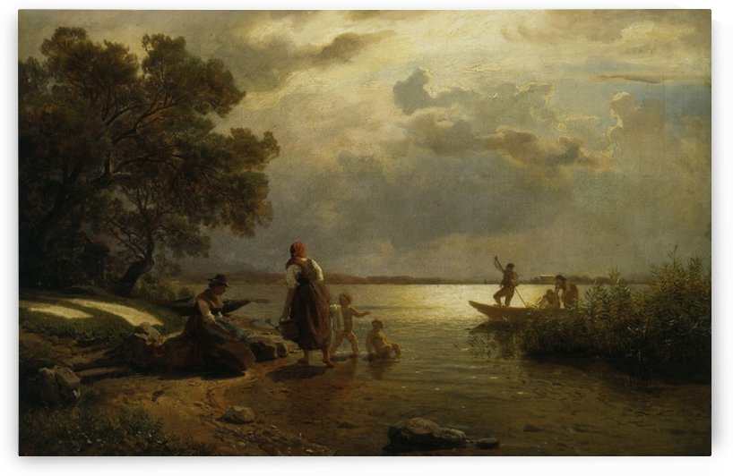 Mothers and children on the shore of Lake Chiemsee in Bavaria by Hans Fredrik Gude