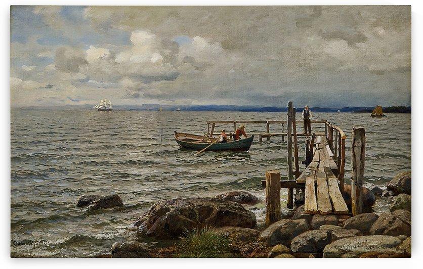 Landgangsbrygge ved Feste Moss by Hans Fredrik Gude