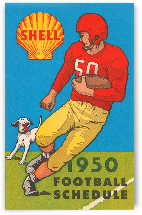 1950 shell oil football schedule poster by Row One Brand