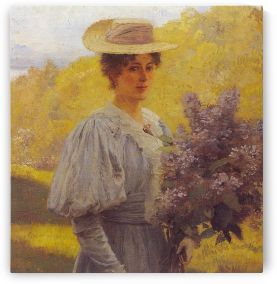 Young Woman with Lilac by Hans Fredrik Gude