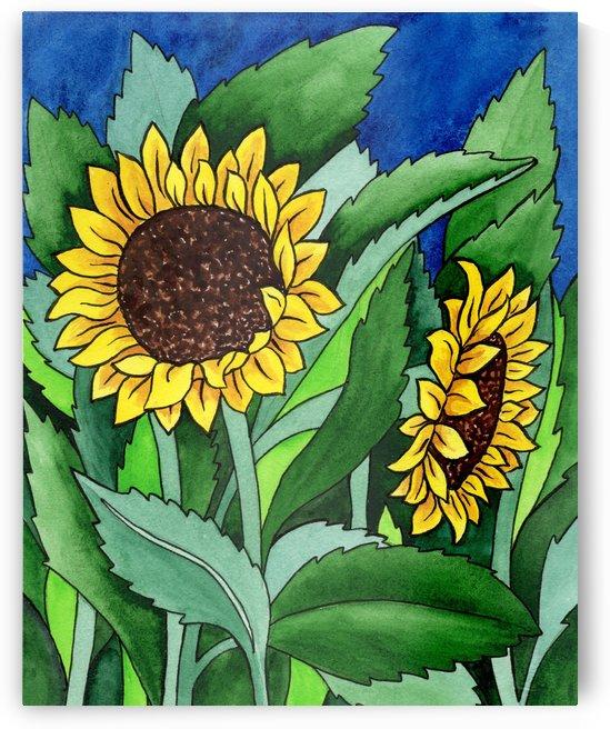 Garden Of Sunflowers Watercolor Painting Batik Style  by Irina Sztukowski