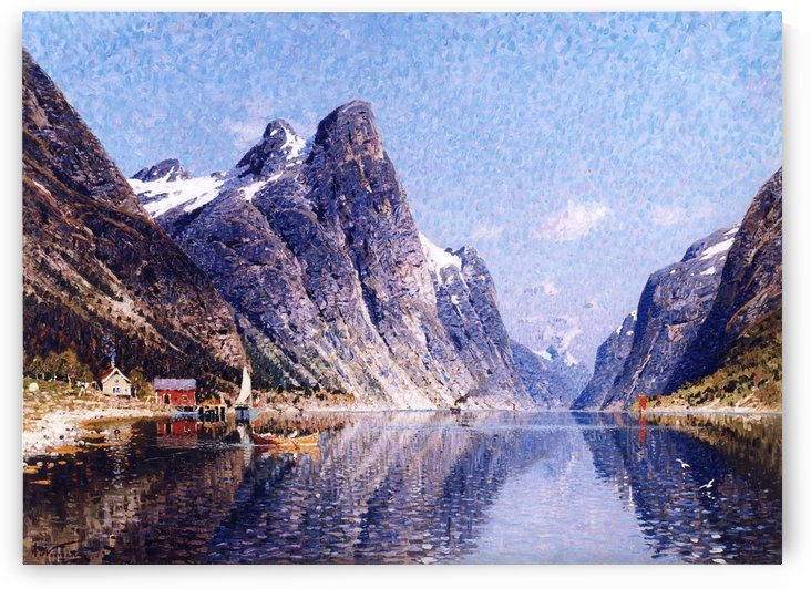 A Norwegian Fjord Scene by Adelsteen Normann