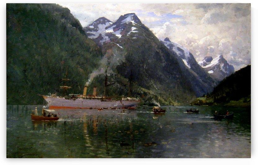 Ship along the fjord by Adelsteen Normann