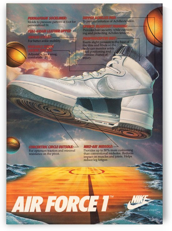 1984 retro nike air force 1 shoe ad reproduction print by Row One Brand