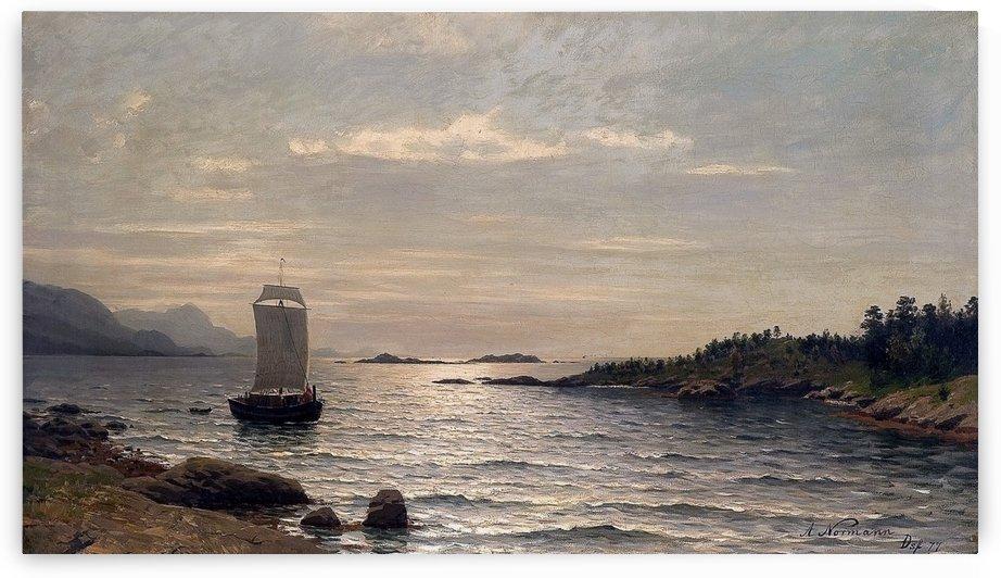 Seilskute i kystlandskap by Adelsteen Normann