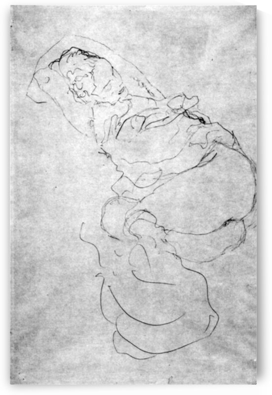 Liegender female over the head with entangled arms by Klimt by Klimt