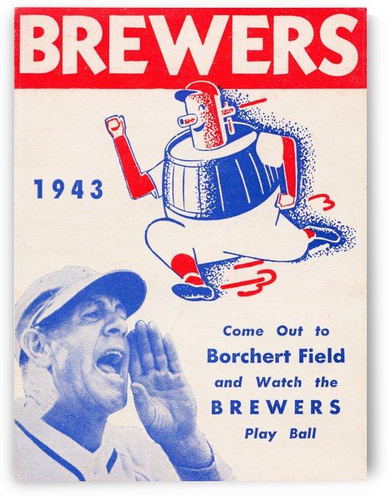 1943 milwaukee brewers borchert field poster by Row One Brand