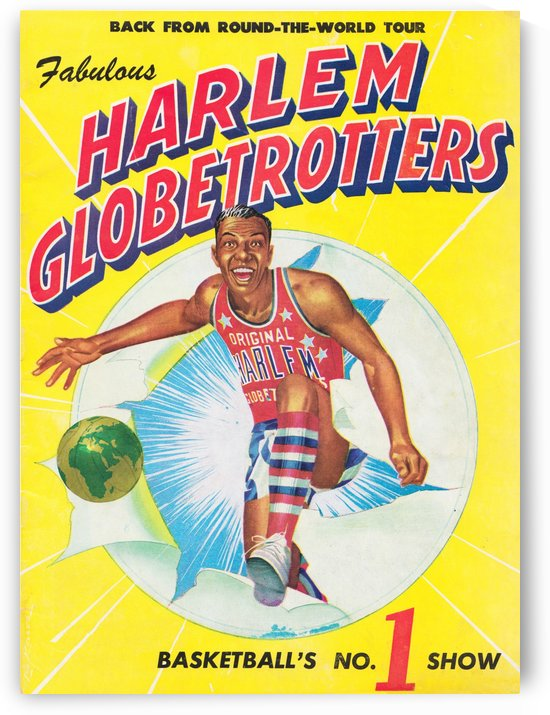 1952 harlem globetrotters basketball poster by Row One Brand